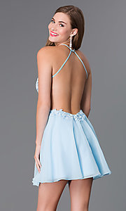 Image of short light blue a-line lacy illusion bodice open back dress Style: BL-PG006S Back Image