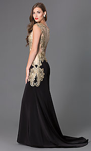 Sleeveless Floor Length Illusion Dress