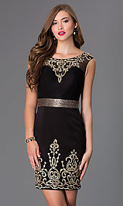 Short Sleeveless Black Dress with Lace Embellishments