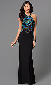 Image of multicolored sequin bodice sleeveless high neck dress with floor length black skirt Style: CD-GL-G432 Front Image