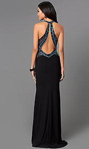Image of multicolored sequin bodice sleeveless high neck dress with floor length black skirt Style: CD-GL-G432 Back Image