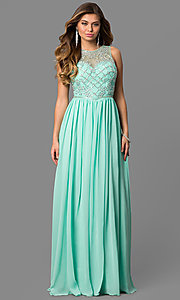 Floor Length Sheer Illusion Beaded Sleeveless Gown