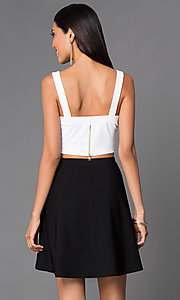 Image of short black and white V-neck sleeveless two-piece dress Style: EM-EHQ-1027-124 Back Image