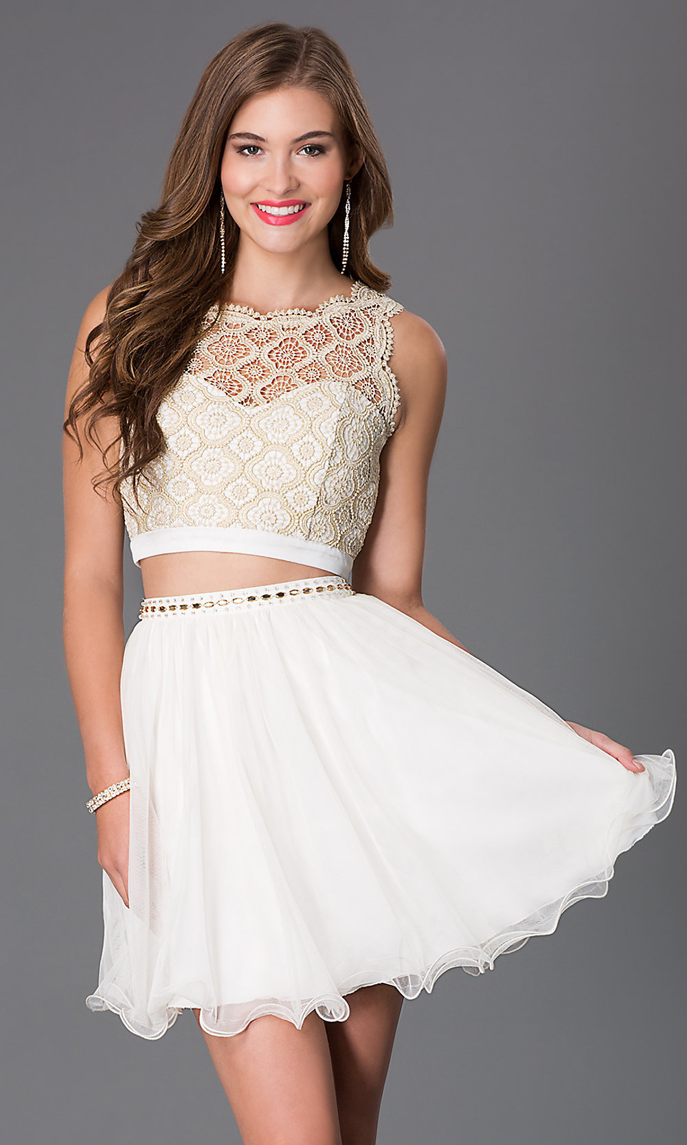 Ivory Two Piece Lace Dress - PromGirl