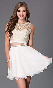 Image of Ivory Two Piece Lace Dress Style: MY-2611TU1P Front Image