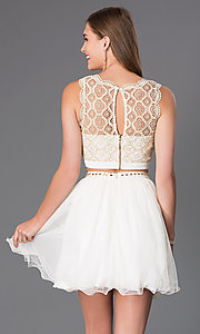 Image of Ivory Two Piece Lace Dress Style: MY-2611TU1P Back Image