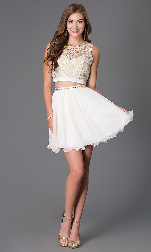 Image of Ivory Two Piece Lace Dress Style: MY-2611TU1P Detail Image 1