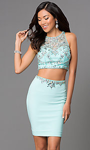 Aqua Short Two Piece Illusion Sweetheart Dress