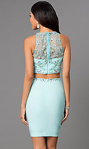 Image of short two piece aqua jewel embellished illusion sweetheart dress Style: CD-1334 Back Image