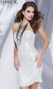 Short Strapless Sweetheart Sequin Dress by Shail K.