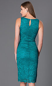 Image of short green sleeveless lace cocktail dress Style: BBL-3LIOL0265 Back Image