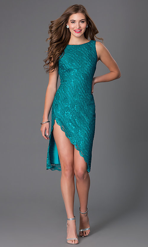 Image of short green sleeveless lace cocktail dress Style: BBL-3LIOL0265 Detail Image 1