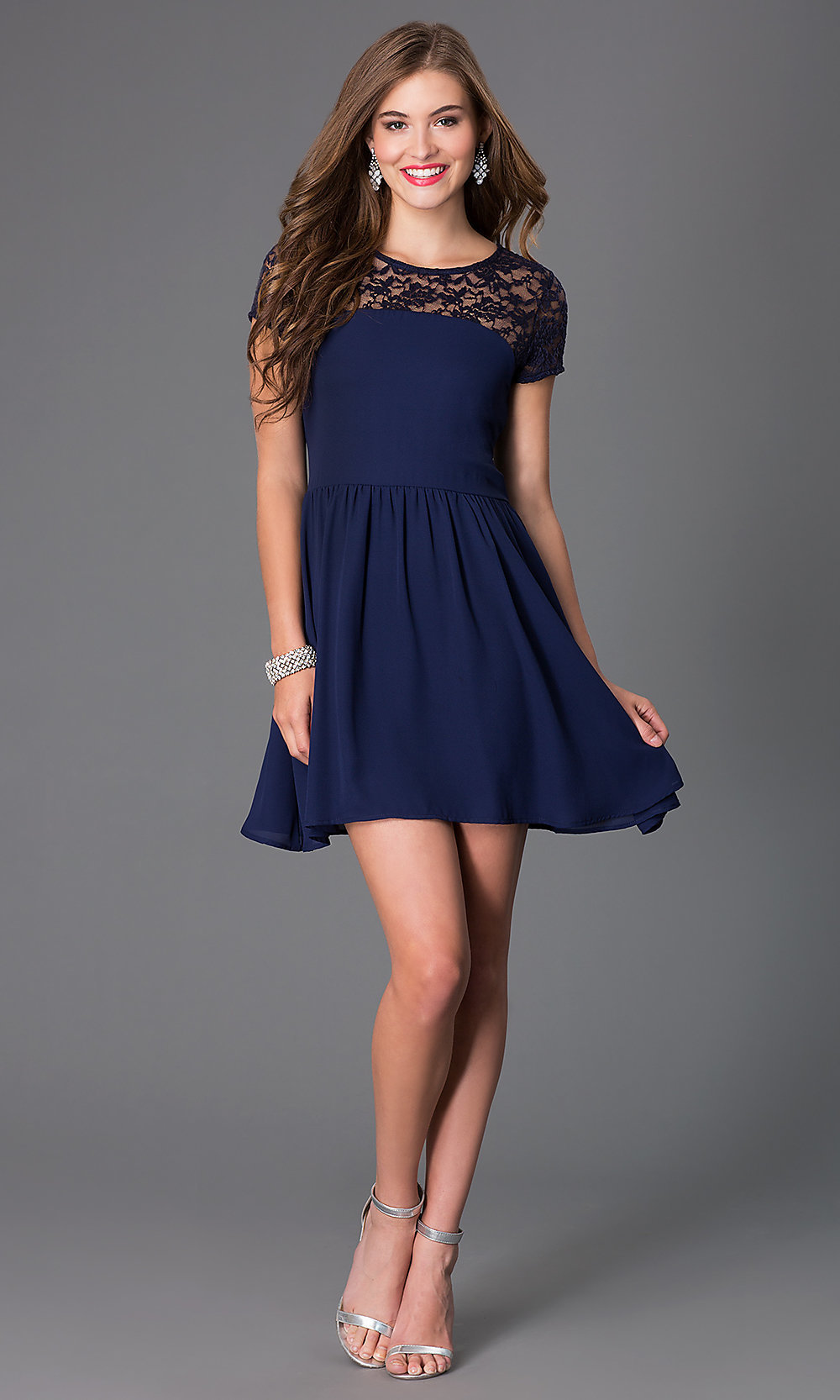 short sleeve back cut out party dress  promgirl