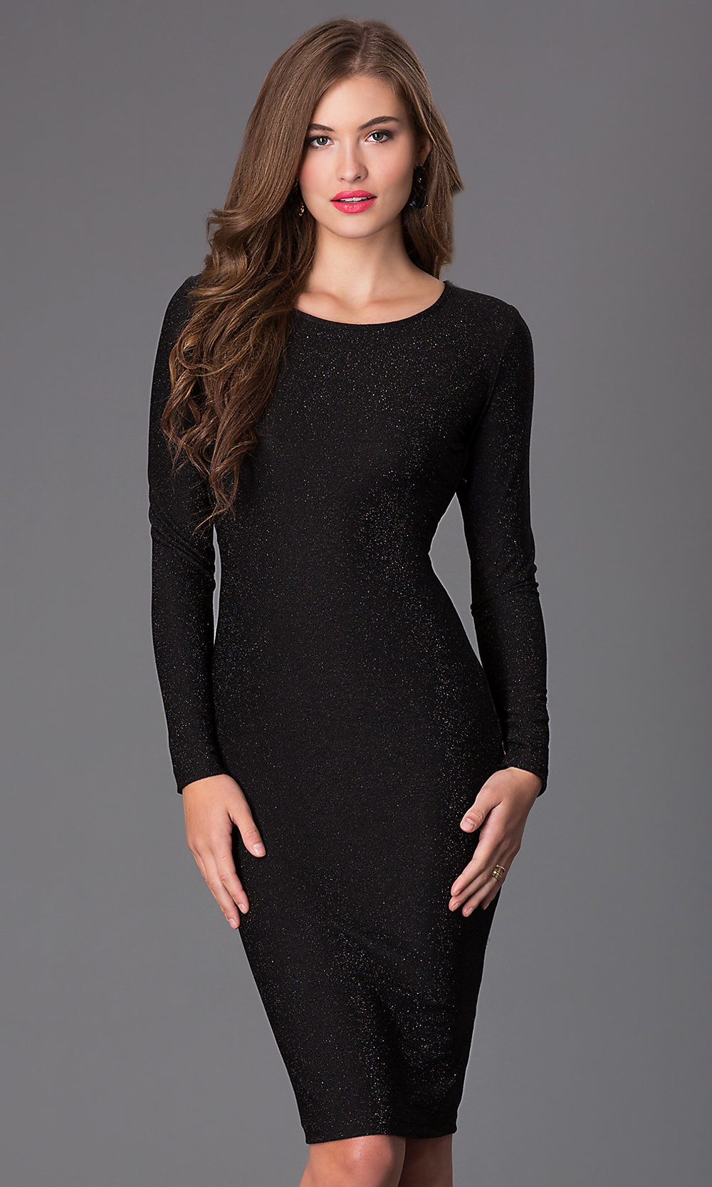 Long Sleeve Knee Length Black Dress - PromGirl