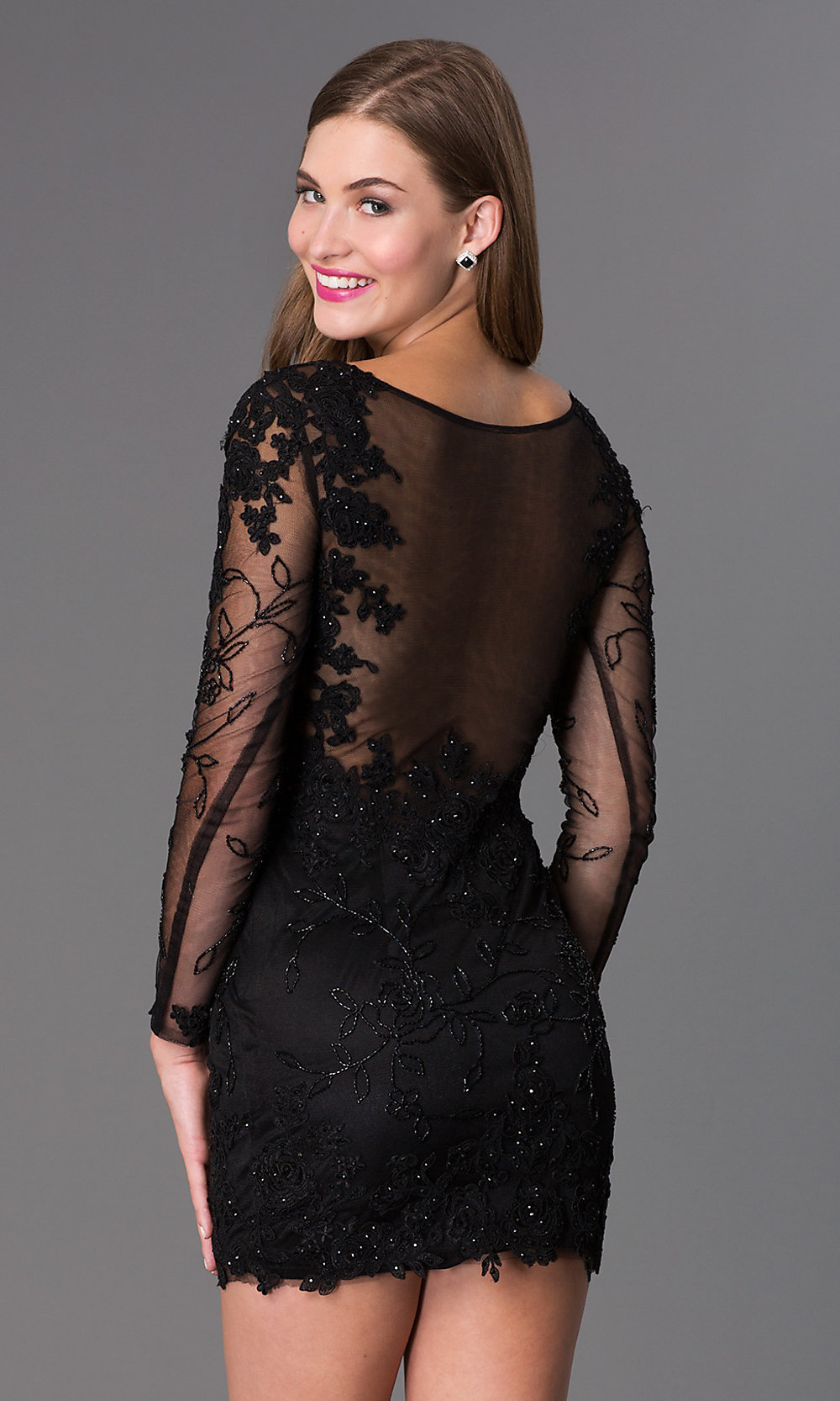 8201aeca4936 Tap to expand · Image of long-sleeve lace Dave and Johnny short prom dress  ...