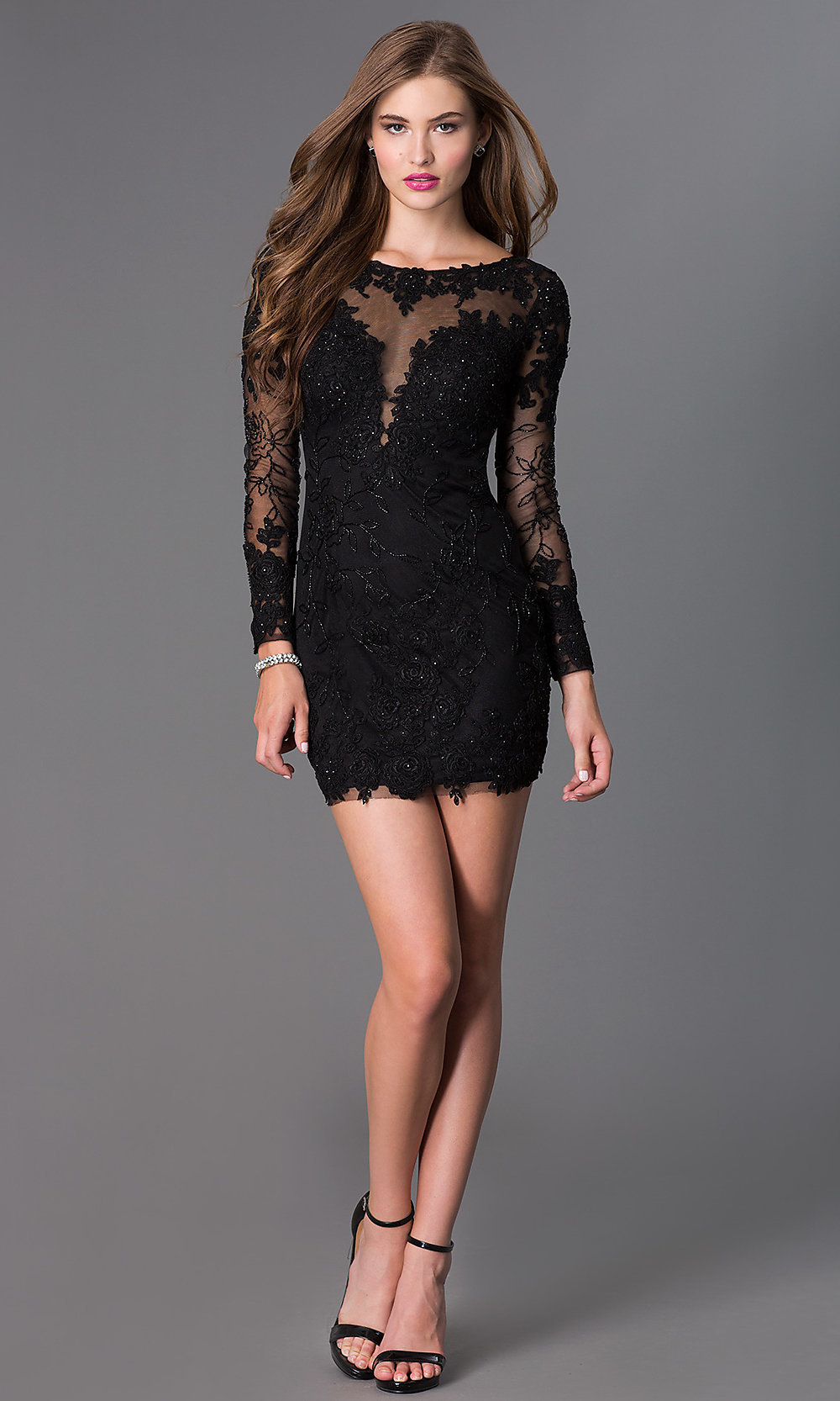 Long-Sleeve Lace Short Prom Dress