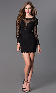 Image of long-sleeve lace Dave and Johnny short prom dress  Style: DJ-1721 Detail Image 1