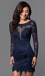 Image of long-sleeve lace Dave and Johnny short prom dress  Style: DJ-1721 Detail Image 2