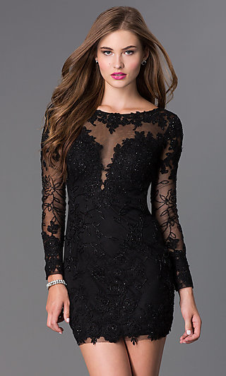 Long-Sleeve Lace Short Prom Dress - PromGirl