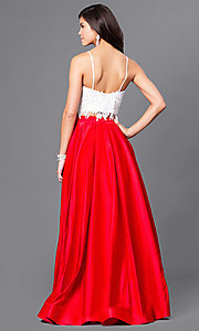 Image of floor length sleeveless jewel detailed lace bodice top two piece ball gown Style: DJ-1435 Back Image