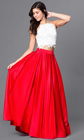 Red 2 Piece Mermaid Prom Dress
