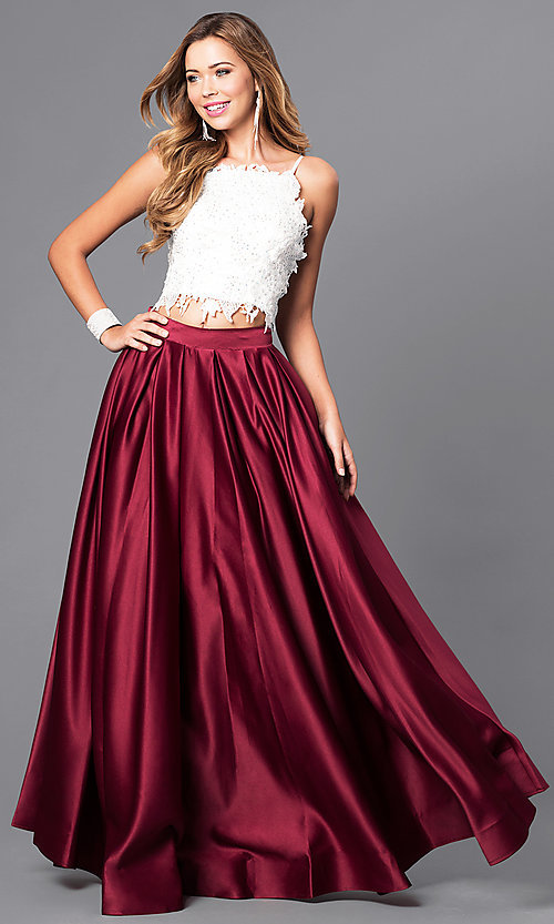 Image of floor length sleeveless jewel detailed lace bodice top two piece ball gown Style: DJ-1435 Detail Image 2