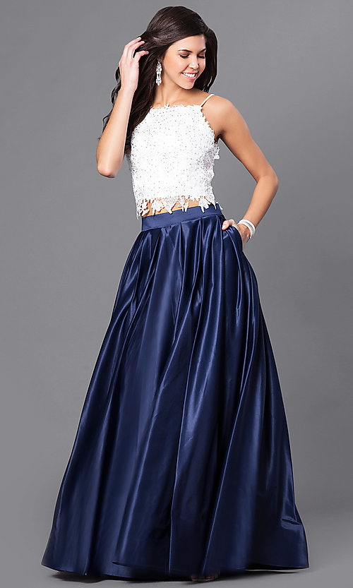 Image of floor length sleeveless jewel detailed lace bodice top two piece ball gown Style: DJ-1435 Detail Image 1