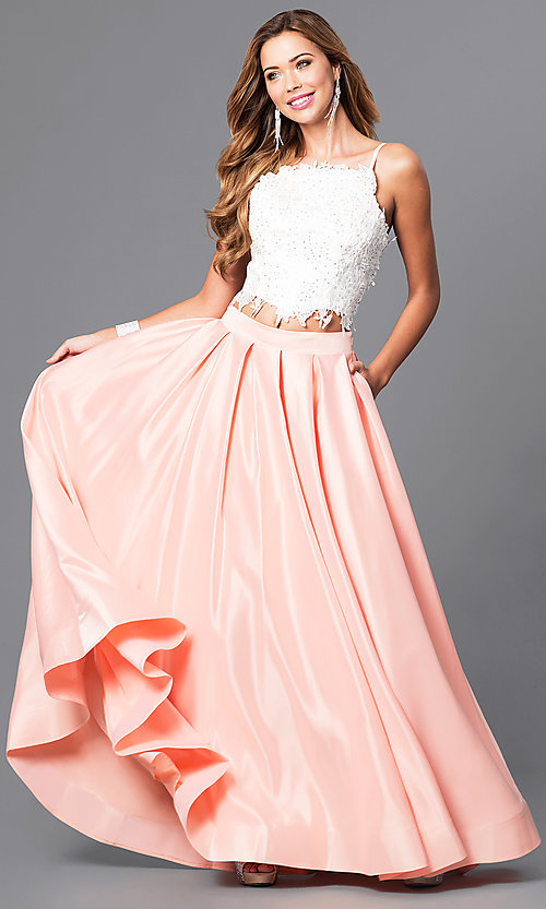 Image of floor length sleeveless jewel detailed lace bodice top two piece ball gown Style: DJ-1435 Detail Image 3