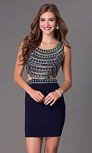 Image of short sleeveless beaded side cut out open back dress Style: DJ-2230 Detail Image 1