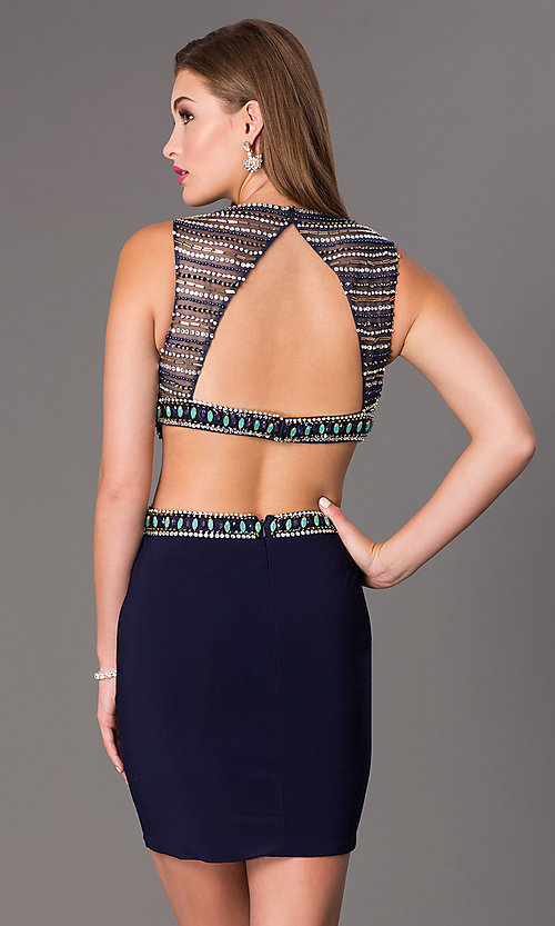Image of short sleeveless beaded side cut out open back dress Style: DJ-2230 Back Image