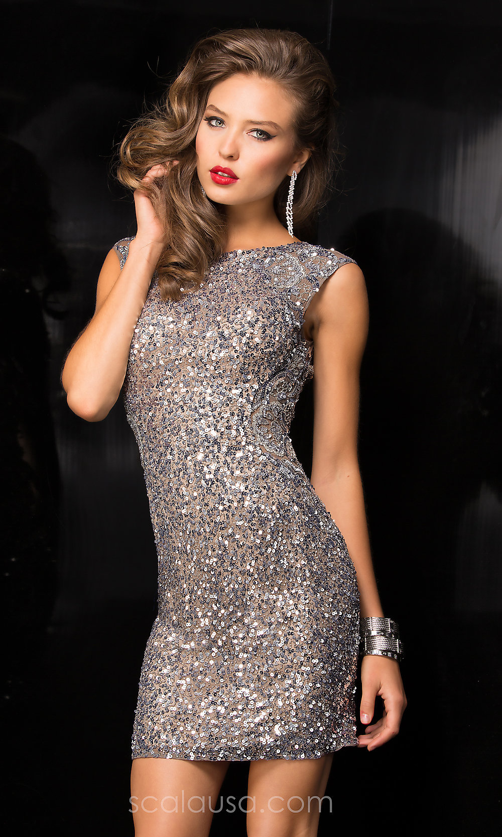Allover Beaded Sequin Scoop-Back Scala Dress