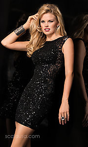 Image of short sleeveless high neck open back sequin dress  Style: Scala-48484 Detail Image 1