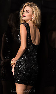 Image of short sleeveless high neck open back sequin dress  Style: Scala-48484 Back Image
