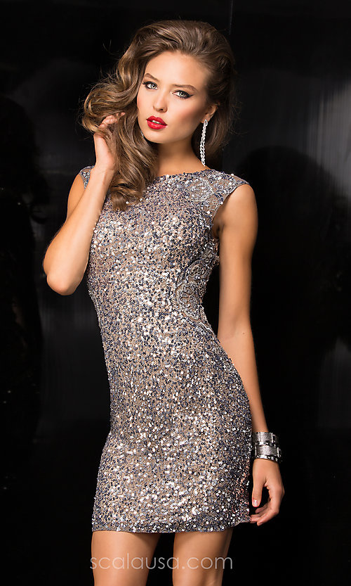 Image of short sleeveless high neck open back sequin dress  Style: Scala-48484 Front Image
