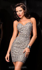 Image of Sequin Short Open Back Dress Style: Scala-48544 Front Image