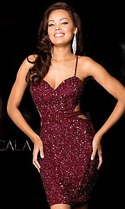 Image of Sequin Short Open Back Dress Style: Scala-48544 Detail Image 3