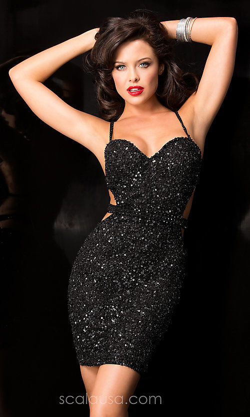 Image of Sequin Short Open Back Dress Style: Scala-48544 Detail Image 1