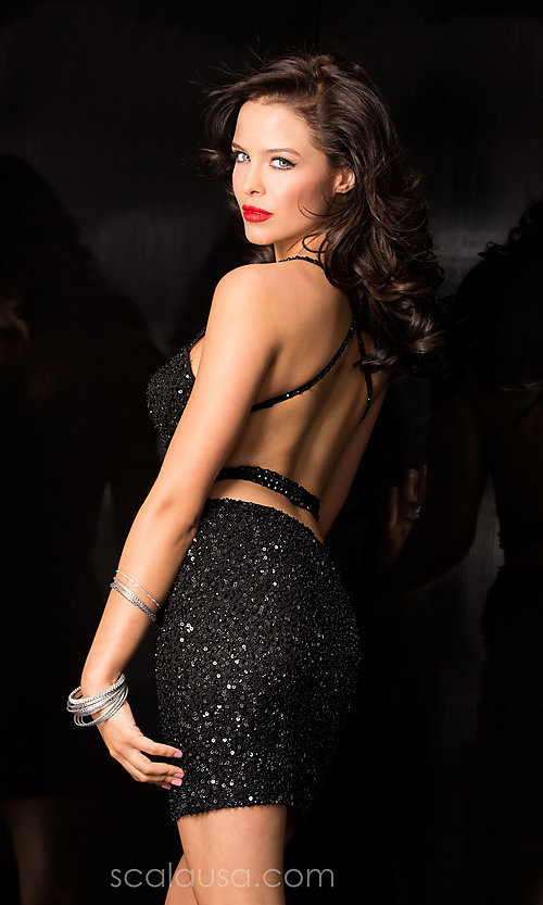 Image of Sequin Short Open Back Dress Style: Scala-48544 Back Image