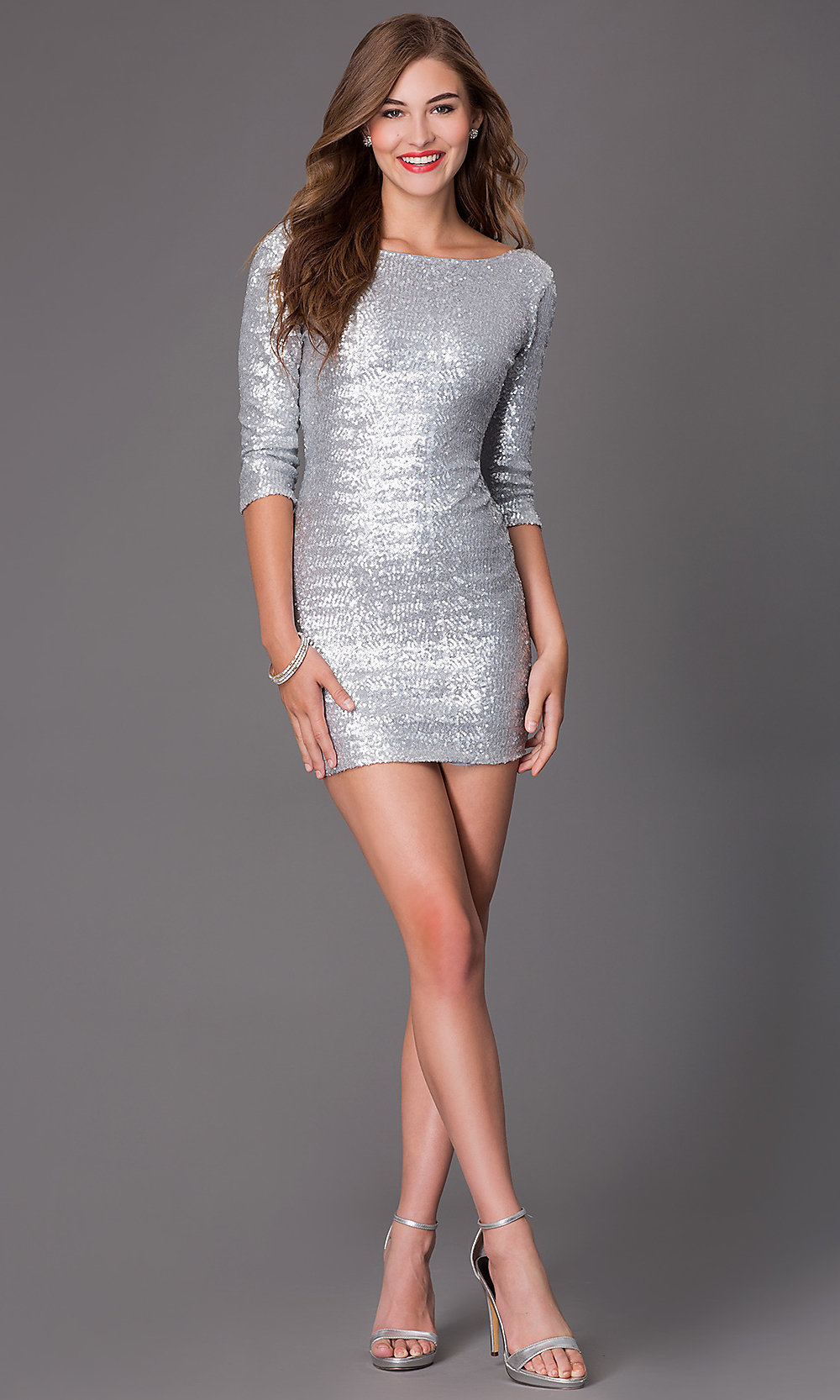 short silver sequin 34 sleeve dress promgirl