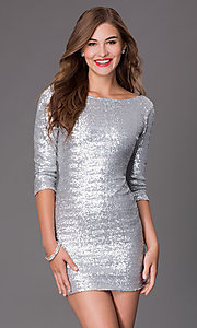 Image of short bateau neckline scoop back three quarter length sleeve sequin silver dress Style: CLC-FDN12113i-040 Front Image