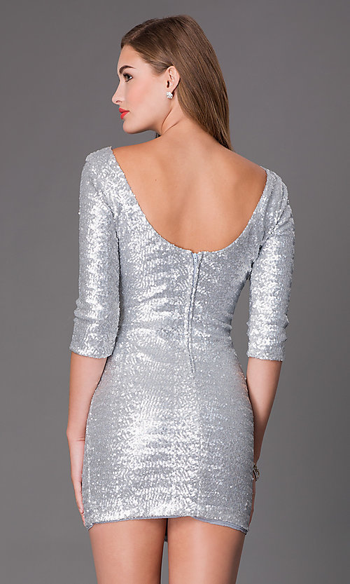 Image of short bateau neckline scoop back three quarter length sleeve sequin silver dress Style: CLC-FDN12113i-040 Back Image