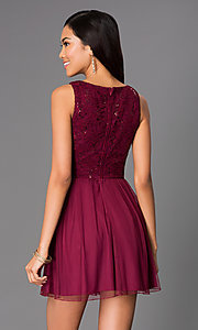 Image of sleeveless party dress with sequin lace bodice. Style: SS-D60121HJL Back Image