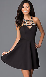 Little Black Dress with Cut-Out Neckline