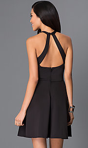 Image of little black dress with cut-out neckline  Style: SS-D62861DB8 Back Image