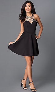 Image of little black dress with cut-out neckline  Style: SS-D62861DB8 Detail Image 1