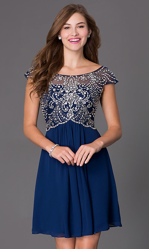 Image of Beaded Cap Sleeve Dress Style: PO-7123 Front Image