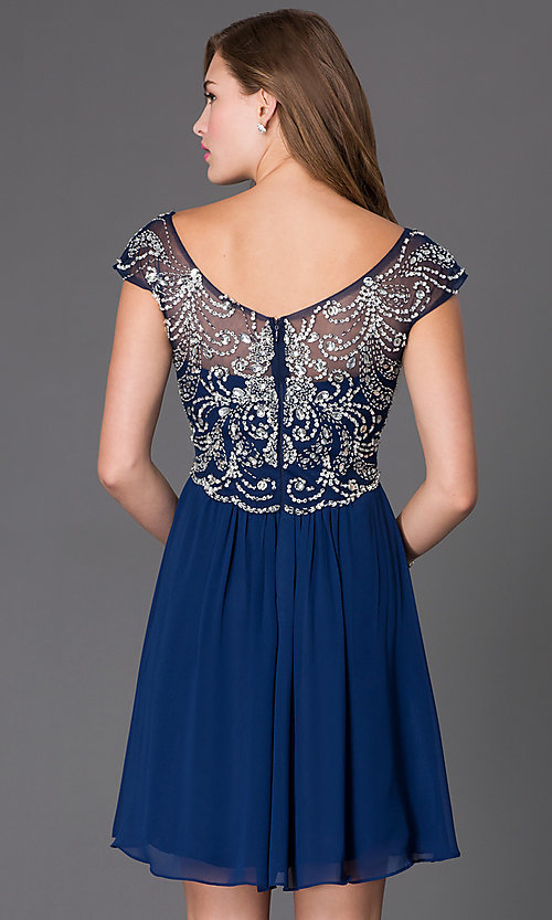 Image of Beaded Cap Sleeve Dress Style: PO-7123 Back Image