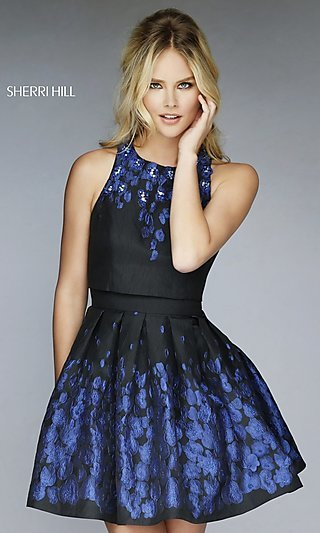 Short Open Back Black Print Dress by Sherri Hill