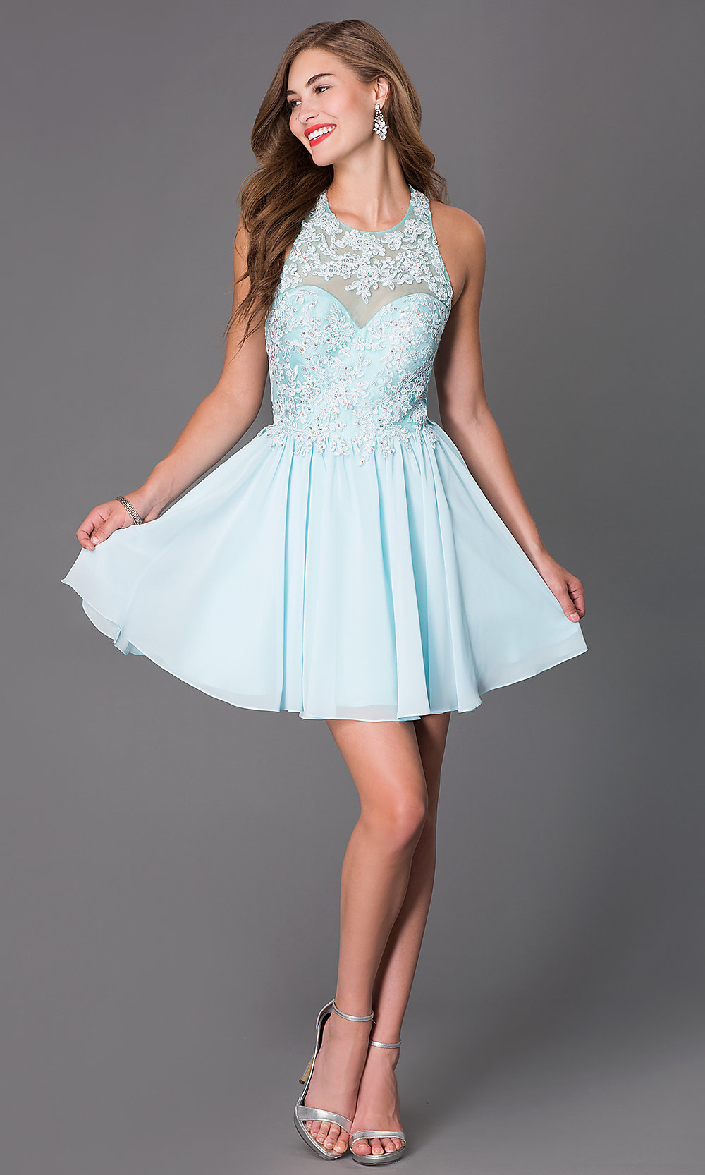 Sleeveless Beaded Lace Short Dress Promgirl