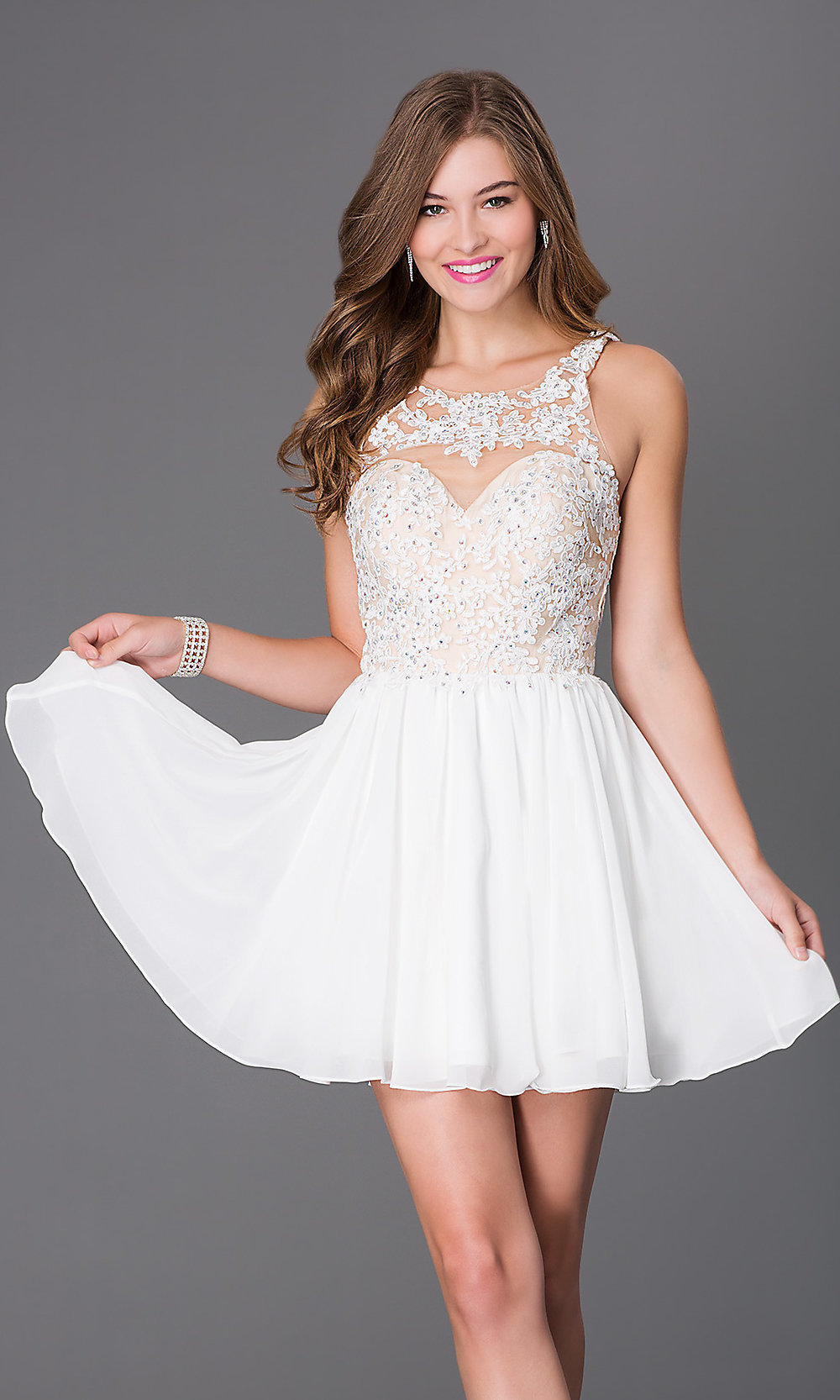 Sleeveless Beaded Lace Short Dress - PromGirl